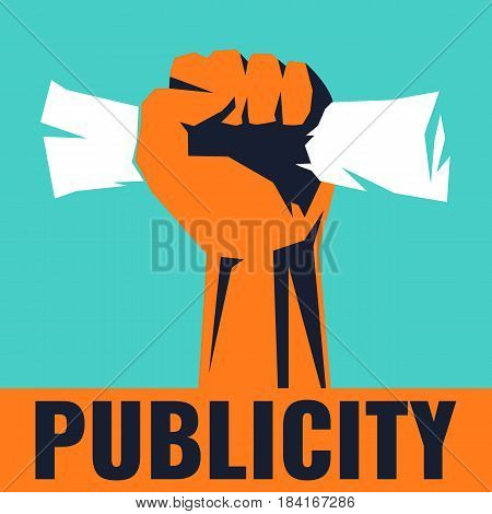 Stylish poster with a fist. Human hand on a blue background. Vector illustration.