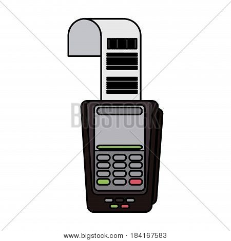 colorful realistic image dataphone with receipter paper vector illustration