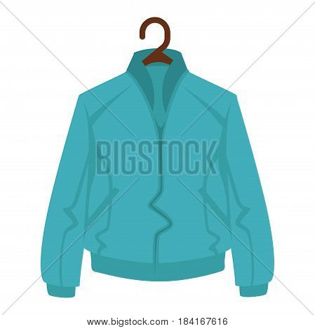 Blue jacket for man or woman on black hanger isolated on white background. Close-up icon of color outerwear, fashion clothes. Vector illustration of navy overdress cartoon style graphic design