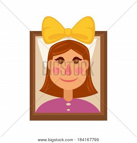 Young girl wearing big yellow bow on head on picture with thin brown frame. Vector colorful illustration in flat design of isolated photograph of female person with short hair and in velvet shirt
