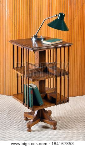 Small Mobile Wooden Bookcase On Casters