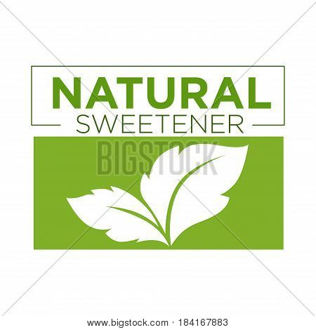 Natural sweetener green symbol of stevia or sweet grass logo on white background. Verdant leaf extract of perennial plant used as sweetener or sugar substitute vector illustration graphic design.