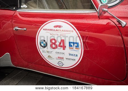 NeuoettingGermany-April 28,2017: One of the participating cars at the Arabella Classics Rally