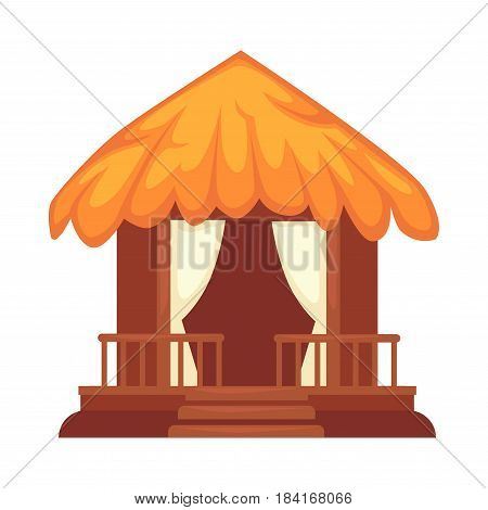 Wooden alcove in round shape with fence-like object, two beige curtains and stairs. Vector colorful illustration in flat design of garden house for relaxation with orange roof made of straws.