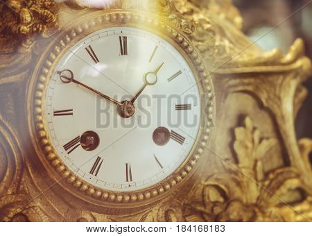 Victorian Old Clock Face with Roman Numerals Gold Antique collection