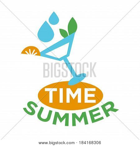Martini glass with green mint, drops of water and piece of orange logo design on white background with inscriptions summer time. Cooling drinks for hot season vector illustration flat icon logotype