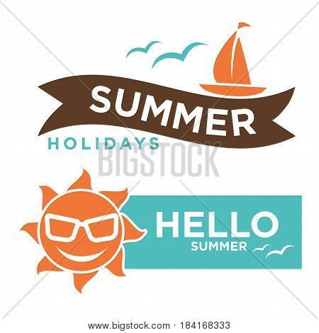 Summer hello holidays logotype with red sun in sunglasses and ship vector illustration in flat design. Enjoy summertime template logo isolated on white background. Rest during sunny weather concept