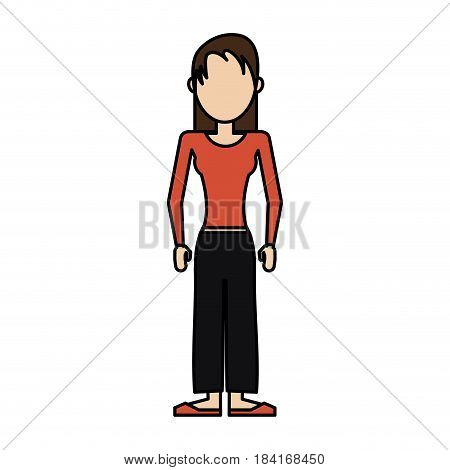 colorful caricature image faceless woman with usual clothing vector illustration