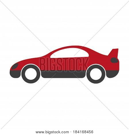 Red and black passenger car with spoiler on back close up flat design on white background. Vector illustration of movement means in cartoon style web icon. Drawn realistic figure graphic image.