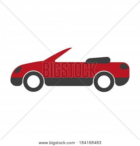 Bicolor cabriolet with open roof close-up icon isolated on white. Red and black, steep and expensive vehicle without top color sign symbol. Vector illustration of transports in cartoon flat style