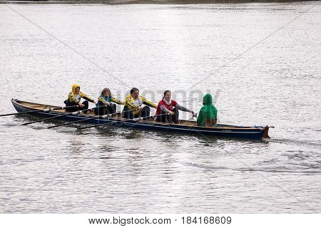 Neuoetting,Germany-April 29,2017: Sculls participating at the Inn-Beaver regatta from Neuoetting to Muehldorf
