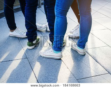 Teenager street wear Jeans pant Sneakers Hipster lifestyle