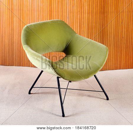 Upholstered Green Velvet Curved Vintage Armchair