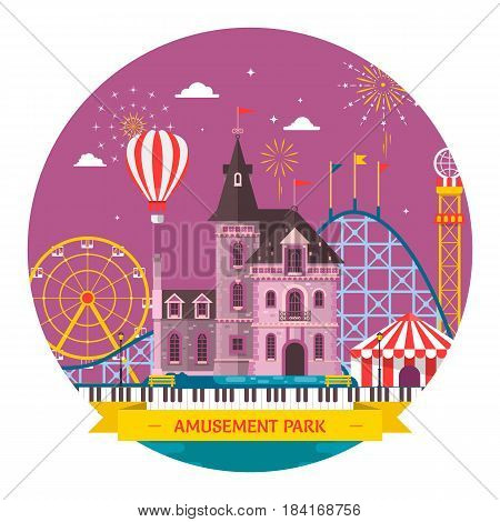 Amusement park with attraction and rollercoaster tent with circus carousel or round attraction merry go round ferris wheel
