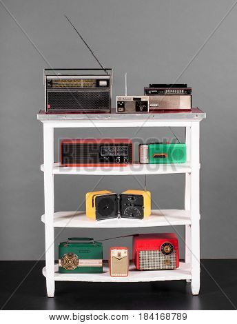 Collection Of Colorful Vintage Transistor Radios