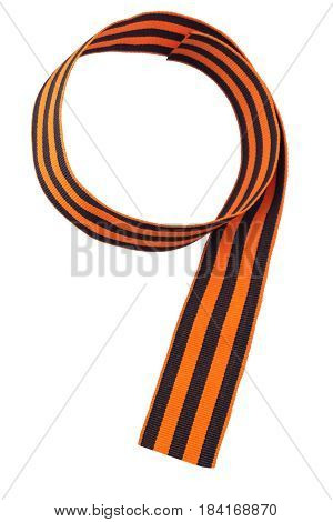 George ribbon beautifully lies in the shape of nine isolate on a white background