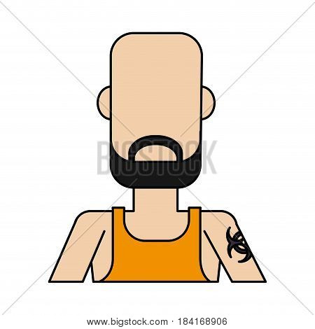colorful caricature image faceless half body bald man with beard and tattoo vector illustration