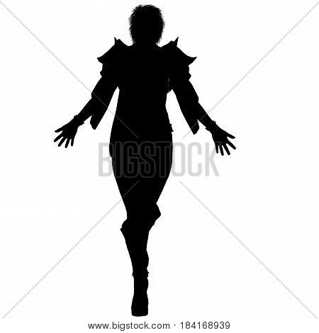 a shadow of one young female sorceress in the fantasy super suit. She stands, arms outstretched to the sides. Her head tilted back. Shadow. 3D rendering, 3D illustration