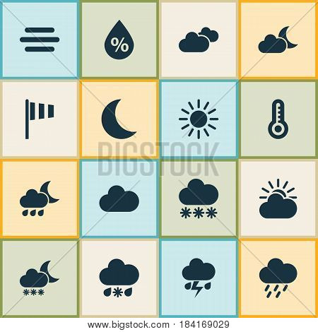 Meteorology Icons Set. Collection Of Night, Nightly, Sun-Cloud And Other Elements. Also Includes Symbols Such As Temperature, Sunny, Snowy.