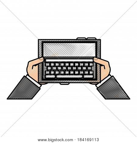 color blurred stripe hands holding a tablet tech device vector illustration