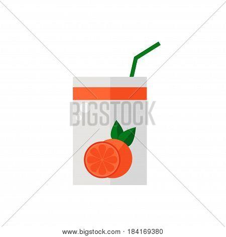 Pack of juice. Grapefruit pack of juice icon isolated on white background. Flat style vector illustration.