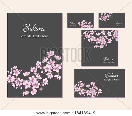 Set of template corporate identity with sakura. Background for printed media design. Banner, business card, invitation, greeting card, postcard. Vector Illustration