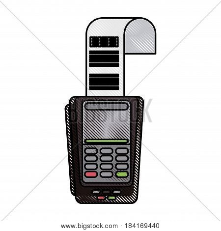 color blurred stripe dataphone with receipter paper vector illustration
