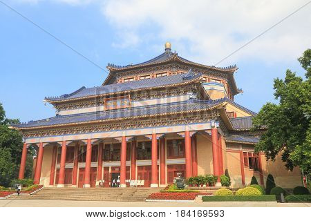 GUANGZHOU CHINA - NOVEMBER 14, 2016: Dr Sun Yat Sen Memorial hall. Dr Sun Yat Sen Memorial hall was designed by Lu Yanzhi.