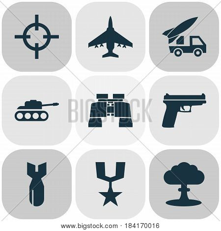 Warfare Icons Set. Collection Of Glass, Atom, Aircraft And Other Elements. Also Includes Symbols Such As Medal, Target, Rocket.