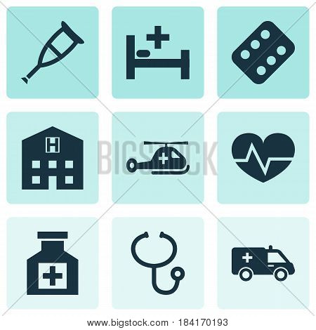 Drug Icons Set. Collection Of Review, Copter, Retreat And Other Elements. Also Includes Symbols Such As Heartbeat, Ambulance, Painkiller.
