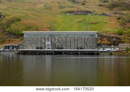 Blaenau Ffestiniog Wales UK - April 27 2017: Ffestiniog Power Station and the Tan y Grisiau reservoir a pumped storage hydroelectricity scheme built in 1963 producing 360 megawatts operated by First Hydro