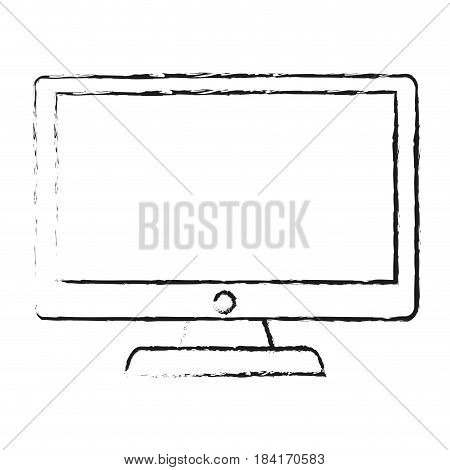 blurred silhouette lcd monitor with screen vector illustration