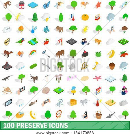 100 preserve icons set in isometric 3d style for any design vector illustration