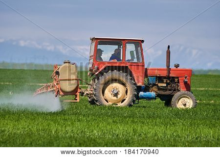 Tractor spraying pesticides and herbicides on a wheat field