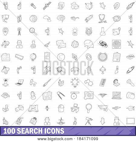 100 search icons set in outline style for any design vector illustration