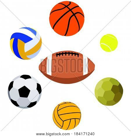 Sport Balls Objects Collection Set including basketball volleyball football handball water polo tennis and rugby on isolated background