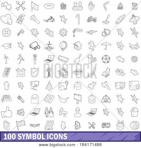 100 symbol icons set in outline style for any design vector illustration