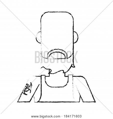 blurred silhouette caricature faceless half body bald man with beard and tattoo vector illustration