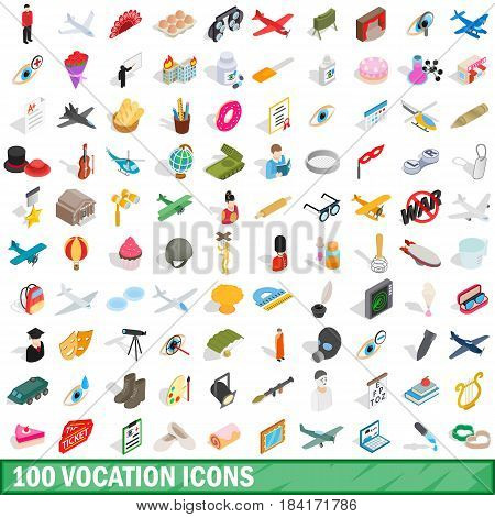 100 vocation icons set in isometric 3d style for any design vector illustration