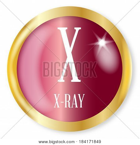 X for X-ray button from the NATO phonetic alphabet with a gold metal circular border over a white background