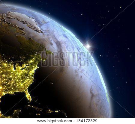 Sunrise Above East Coast Of North America