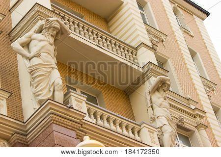 barocco style balcony. antic statue. luxury house