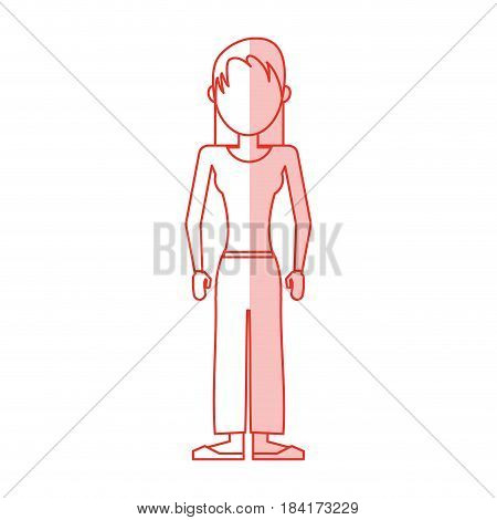 red silhouette shading caricature faceless woman with usual clothing vector illustration