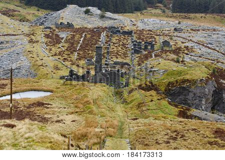The abandoned Rhiw bach Slate Quarry near Blaenau Ffestiniog in North Wales opened in 1812 closed in 1952 one of many forgotten mines in the area