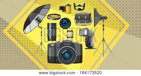 Photo studio banner horizontal concept. Cartoon illustration of photo equipment banner horizontal vector for web