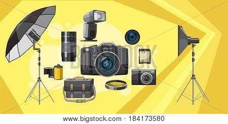 Photo equipment banner horizontal concept. Cartoon illustration of photo equipment banner horizontal vector for web