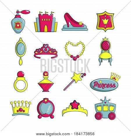 Princess doll icons set. Cartoon illustration of 16 princess doll vector icons for web