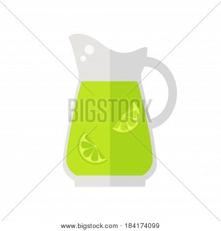 Juice jug icon. Lime juice jug isolated icon on white background. Healthy drink. Flat style vector illustration.