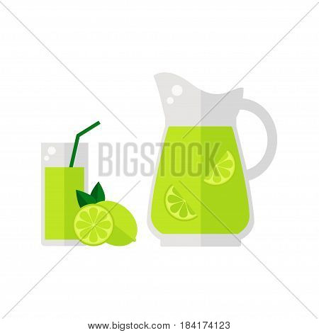 Lime juice icon isolated on white background. Glass with straw, pitcher and lime fruit. Refreshing drink. Flat vector illustration design.