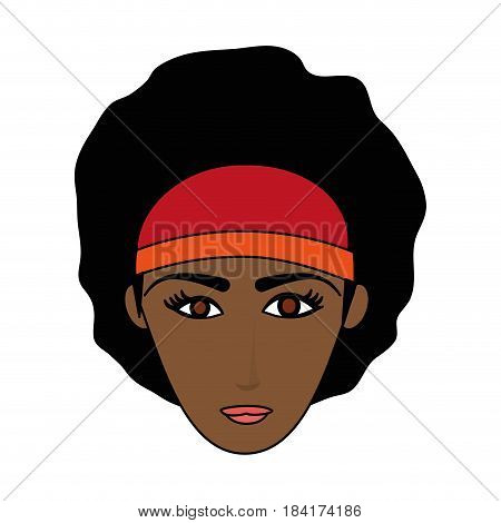 color image cartoon front face brunette woman with afro hair vector illustration